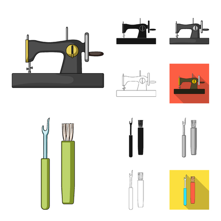 Sewing, atelier cartoon,black,flat,monochrome,outline icons in set collection for design. Tool kit vector symbol stock  illustration.