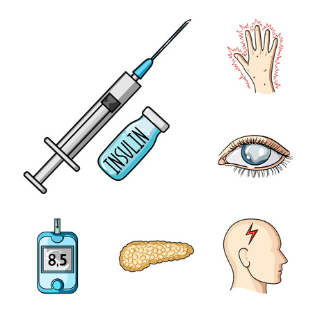 Diabetes cartoon icons in set collection for design. Treatment of diabetes vector symbol stock web illustration.