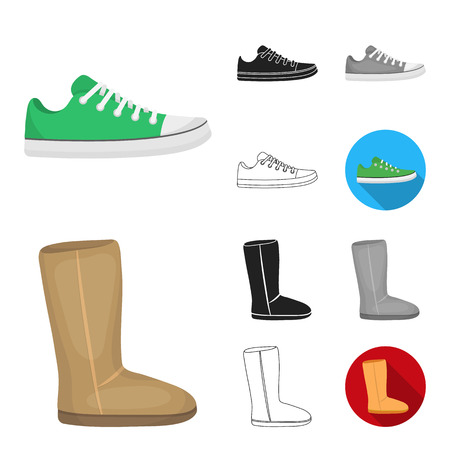 A variety of shoes cartoon,black,flat,monochrome,outline icons in set collection for design. Boot, sneakers vector symbol stock web illustration.
