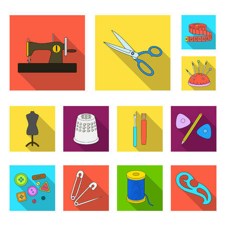 Sewing, atelier flat icons in set collection for design. Tool kit vector symbol stock web illustration.