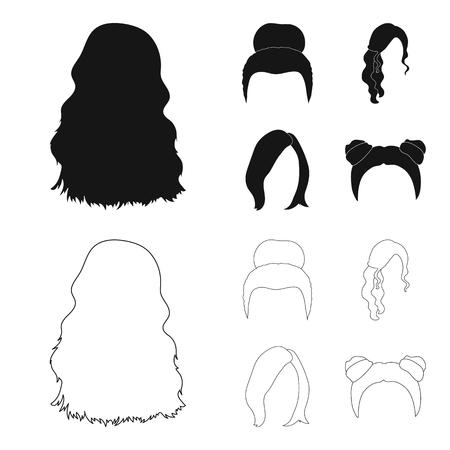 Rubio con mechón, pelirrojo ondulado y otros tipos de cabello. Los iconos de la colección del conjunto de cabello en la espalda en negro, estilo de dibujos animados vector símbolo stock ilustración web. Ilustración de vector