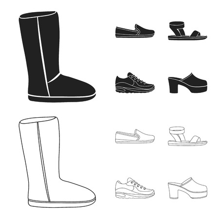 Beige ugg boots with fur, brown loafers with a white sole, sandals with a fastener, white and blue sneakers. Shoes set collection icons in black,outline style vector symbol stock illustration web.