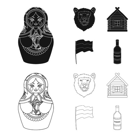Russia, country, nation, matryoshka .Russia country set collection icons in black,outline style vector symbol stock illustration web. Stock Illustratie