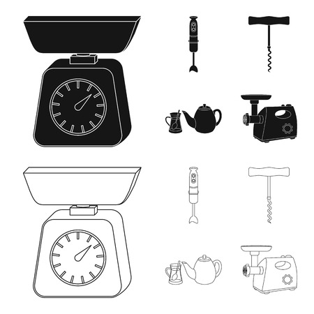 Kitchen equipment black,outline icons in set collection for design. Kitchen and accessories vector symbol stock web illustration.