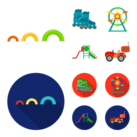 Ferris wheel with ladder, scooter. Playground set collection icons in cartoon,flat style vector symbol stock illustration web. Vettoriali