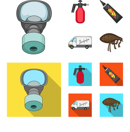 Flea, special car and equipment cartoon,flat icons in set collection for design. Pest Control Service vector symbol stock web illustration.