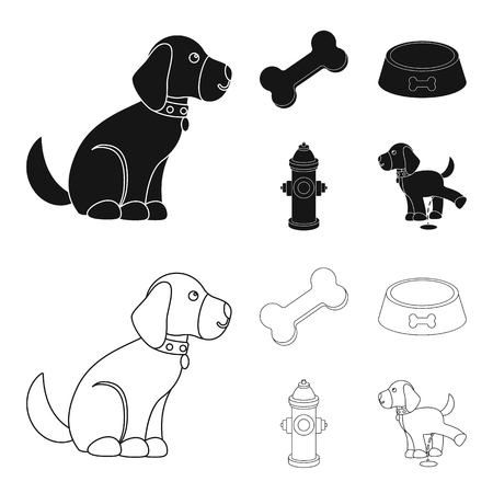 A bone, a fire hydrant, a bowl of food, a pissing dog.Dog set collection icons in black,outline style vector symbol stock illustration web.
