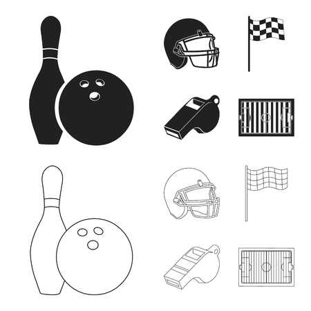 Bowl and bowling pin for bowling, protective helmet for playing baseball, checkbox, referee, whistle for coach or referee. Sport set collection icons in black,outline style vector symbol stock illustration web.