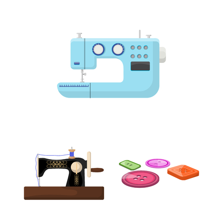 Atelier and equipment cartoon icons in set collection for design. Sewing of outer clothing vector symbol stock web illustration.