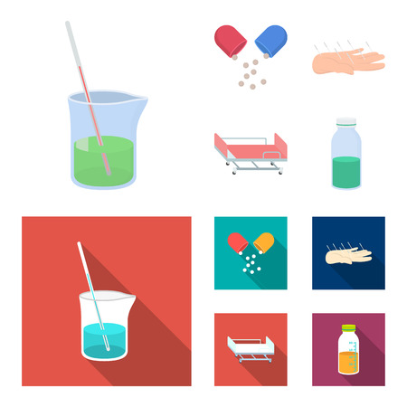 Solution, tablet, acupuncture, hospital gurney.Medicine set collection icons in cartoon,flat style vector symbol stock illustration web. Stock Photo