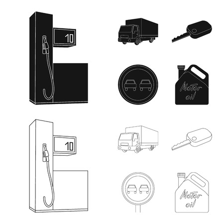 Truck with awning, ignition key, prohibitory sign, engine oil in canister, Vehicle set collection icons in black,outline style vector symbol stock illustration web. Фото со стока