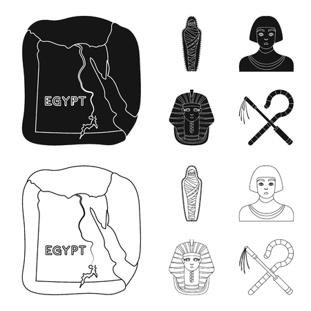 Crook and flail,a golden mask, an egyptian, a mummy in a tomb.Ancient Egypt set collection icons in black,outline style vector symbol stock illustration web. Banco de Imagens