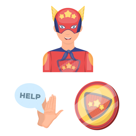 A fantastic superhero cartoon icons in set collection for design. Superhero equipment vector symbol stock web illustration. Stock Illustration - 105482194