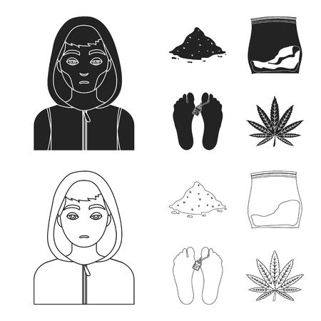 Addict, cocaine, marijuana, corpse.Drug set collection icons in black,outline style vector symbol stock illustration web.