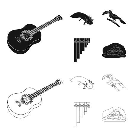 Sampono Mexican musical instrument, a bird with a long beak, Orizaba is the highest mountain in Mexico, axolotl is a rare animal. Mexico country set collection icons in black,outline style vector symbol stock illustration web. Illustration