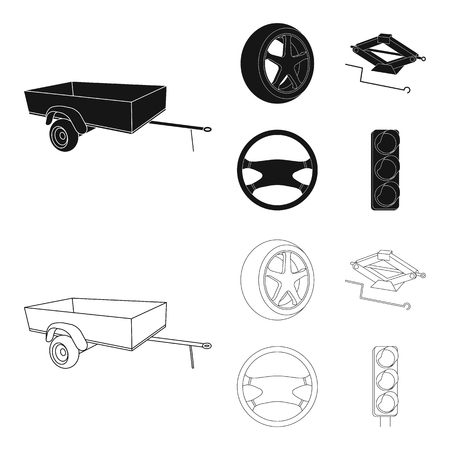 Caravan, wheel with tire cover, mechanical jack, steering wheel, Car set collection icons in black,outline style vector symbol stock illustration web. Vettoriali