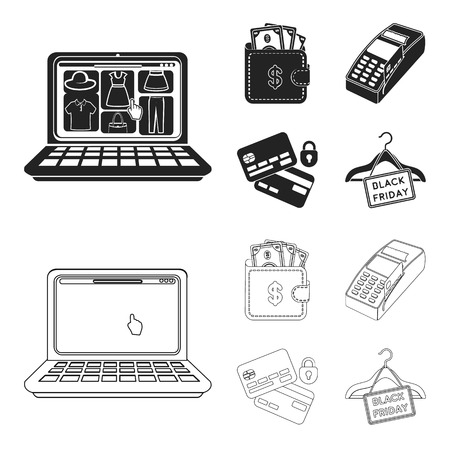 Purse, money, touch, hanger and other equipment. E commerce set collection icons in black,outline style vector symbol stock illustration web.