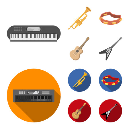 Electro organ, trumpet, tambourine, string guitar. Musical instruments set collection icons in cartoon,flat style vector symbol stock illustration web.