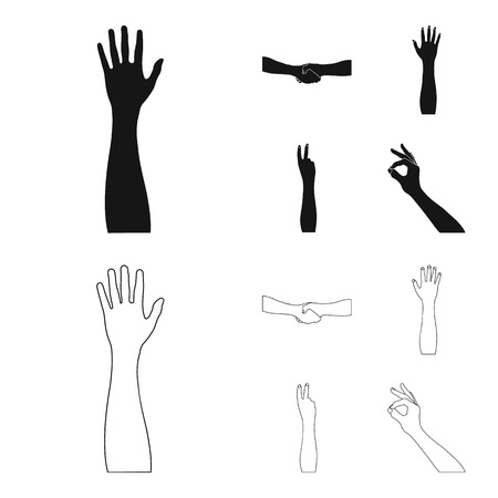 Sign Language black,outline icons in set collection for design.Emotional part of communication vector symbol stock illustration.