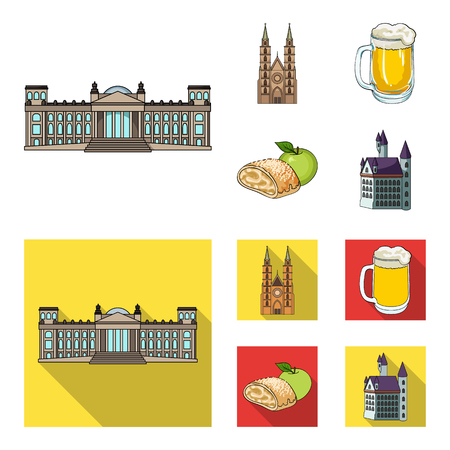 Country Germany cartoon,flat icons in set collection for design. Germany and landmark vector symbol stock  illustration. Illustration