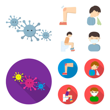 A foot with a bruise in the knee, sneezing sick, a man sitting on the toilet, a man in a medical mask. Sick set collection icons in cartoon,flat style vector symbol stock illustration web.
