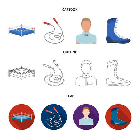 Ring, rope, referee, sneakers Boxing set collection icons in cartoon,outline,flat style vector symbol stock illustration web.