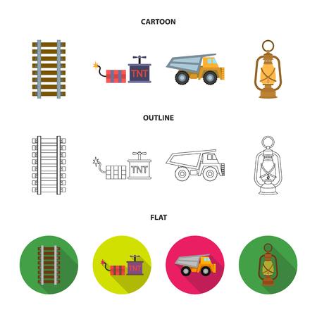 Ryllsy,vzryvchatka, dumper, lantern.Mine set collection icons in cartoon,outline,flat style vector symbol stock illustration web.