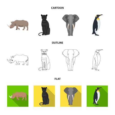 Black rhinoceros, panther wild cat, African animal elephant, imperial penguin. Wild animals set collection icons in cartoon,outline,flat style vector symbol stock illustration web.