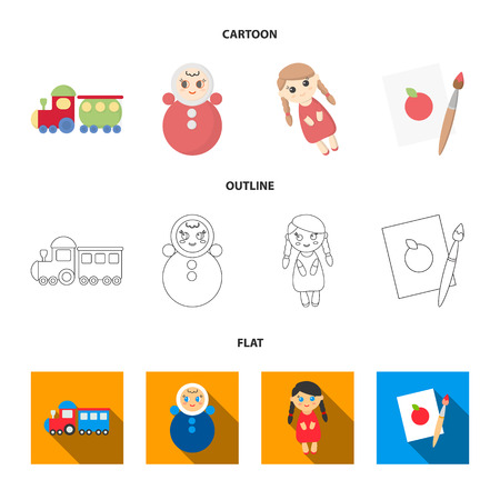 Train.kukla, picture.Toys set collection icons in cartoon,outline,flat style vector symbol stock illustration web.