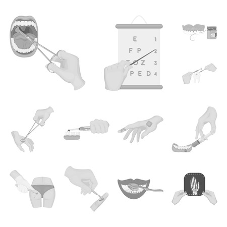 Manipulation by hands monochrome icons in set collection for design. Hand movement in medicine vector symbol stock web illustration.