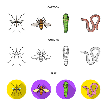 Worm, centipede, wasp, bee, hornet .Insects set collection icons in cartoon,outline,flat style vector symbol stock illustration web.
