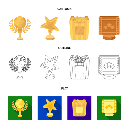 A gold prize in the form of a star, a gold globe and other prizes.Movie awards set collection icons in cartoon,outline,flat style vector symbol stock illustration web.