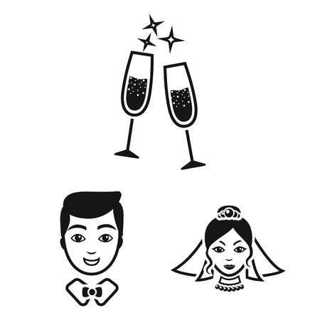Wedding and Attributes black icons in set collection for design.Newlyweds and Accessories vector symbol stock web illustration. 向量圖像