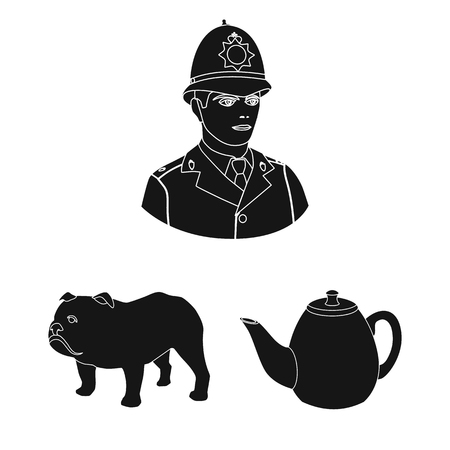 England country black icons in set collection for design.Travel and attractions vector symbol stock web illustration. Vettoriali