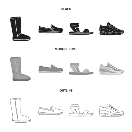 Beige ugg boots with fur, brown loafers with a white sole, sandals with a fastener, white and blue sneakers. Shoes set collection icons in black,monochrome,outline style vector symbol stock illustration .