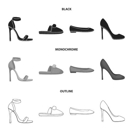 Blue high-heeled sandals, homemade lilac slippers with a pampon, pink women ballet flats, brown high-heeled shoes. Shoes set collection icons in black,monochrome,outline style vector symbol stock illustration .