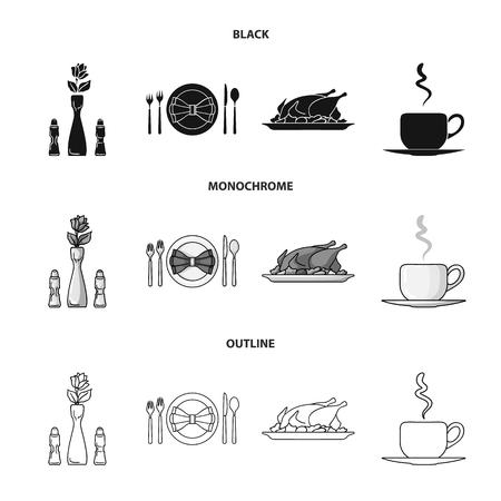 Vase avec une fleur, table, poulet frit avec garniture, une tasse de café.Restaurant set icônes de collection en noir, monochrome, contour style vecteur symbole stock illustration web. Vecteurs