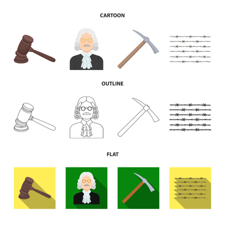 Judge, wooden hammer, barbed wire, pickaxe. Prison set collection icons in cartoon,outline,flat style vector symbol stock illustration web.
