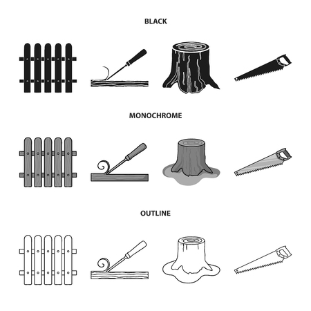 Fence, chisel, stump, hacksaw for wood. Lumber and timber set collection icons in black,monochrome,outline style vector symbol stock illustration web.