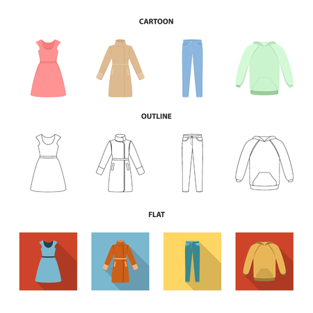 Dress with short sleeves, trousers, coats, raglan.Clothing set collection icons in cartoon,outline,flat style vector symbol stock illustration web. Stock Photo