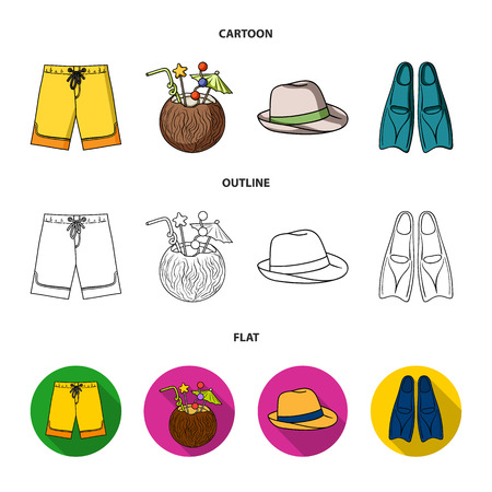 Swimming trunks, cocktail with coconut, panama and flippers. Surfing set collection icons in cartoon,outline,flat style vector symbol stock illustration web.