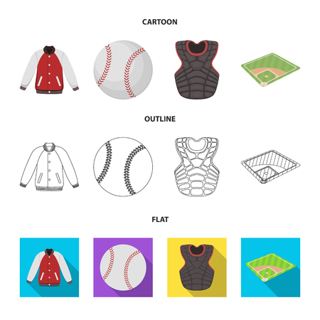 Playground, jacket, ball, protective vest. Baseball set collection icons in cartoon,outline,flat style vector symbol stock illustration web. Illustration