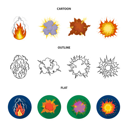Flame, sparks, hydrogen fragments, atomic or gas explosion, thunderstorm, solar explosion. Explosions set collection icons in cartoon,outline,flat style vector symbol stock illustration web. Ilustração