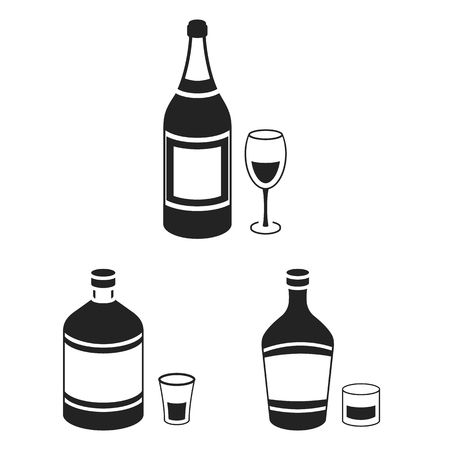 Types of alcohol black icons in set collection for design. Alcohol in bottles vector symbol stock web illustration. 일러스트