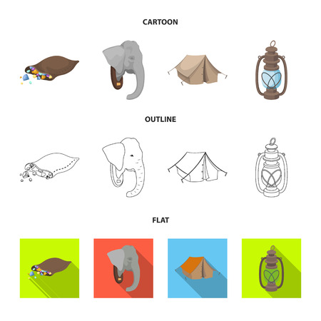 A bag of diamonds, an elephant head, a kerosene lamp, a tent. African safari set collection icons in cartoon,outline,flat style vector symbol stock illustration web.