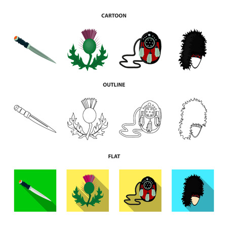 National Dirk Dagger, Thistle National Symbol, Sporran,glengarry.Scotland set collection icons in cartoon,outline,flat style vector symbol stock illustration web.