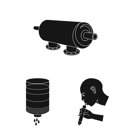 Water filtration system black icons in set collection for design. Cleaning equipment vector symbol stock web illustration.