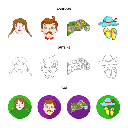 Travel, vacation, camping, map .Family holiday set collection icons in cartoon,outline,flat style vector symbol stock illustration web.