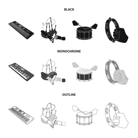 Synthesizer melodies, bagpipes Scotch and other web icon in black,monochrome,outline style. drum, drum roll, tambourine in hand icons in set collection.