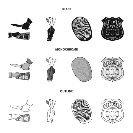 Robbery attack, fingerprint, police officer badge, pickpockets.Crime set collection icons in black,monochrome,outline style vector symbol stock illustration web.